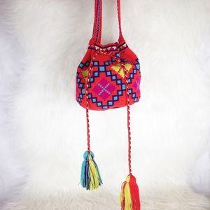 Handbags - Boho Tassel Drawstring Crossbody Purse
